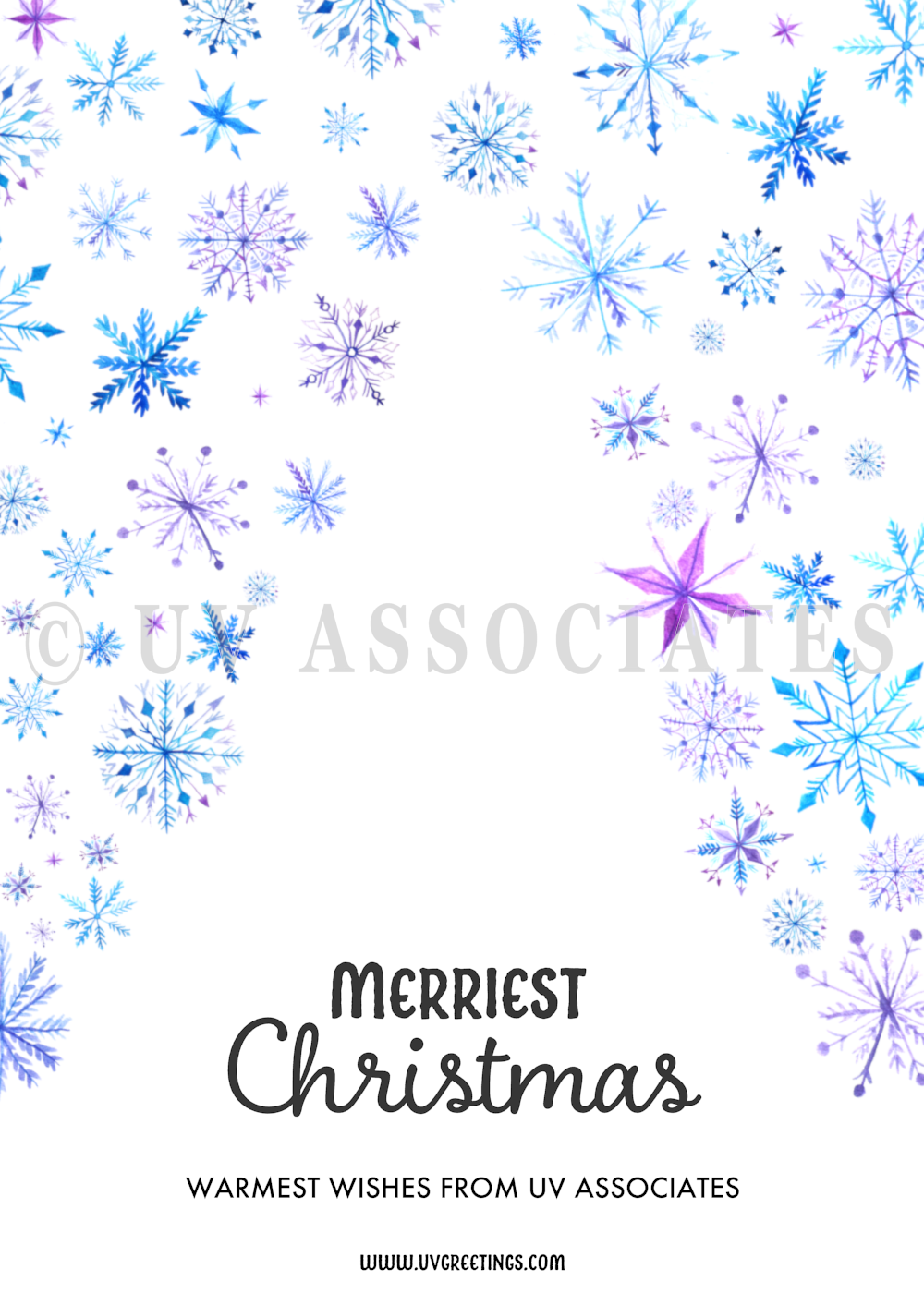 Watercolor Snowflakes creating a Christmas Tree Shaped Space