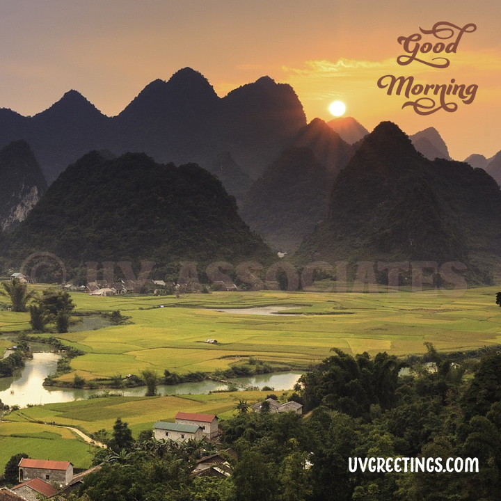 Mountains, grass fields, scenic good morning wish