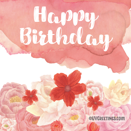 Subtle Red watercolor background Happy Birthday Brush Script floral