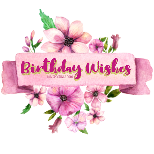 Birthday-Wishes Sticker -- Pink watercolor flowers around ribbon