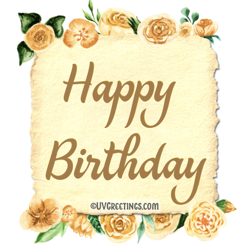 Yellow floral frame with card stock old paper cutout -- happy birthday script