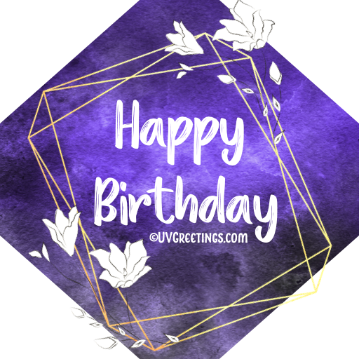Deep violet Watercolor background, gold frames and while florals - Happy Birthday