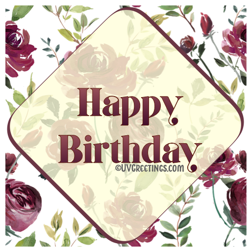 Watercolor Deep Wine Floral Pattern Happy Birthday Diamond Frame