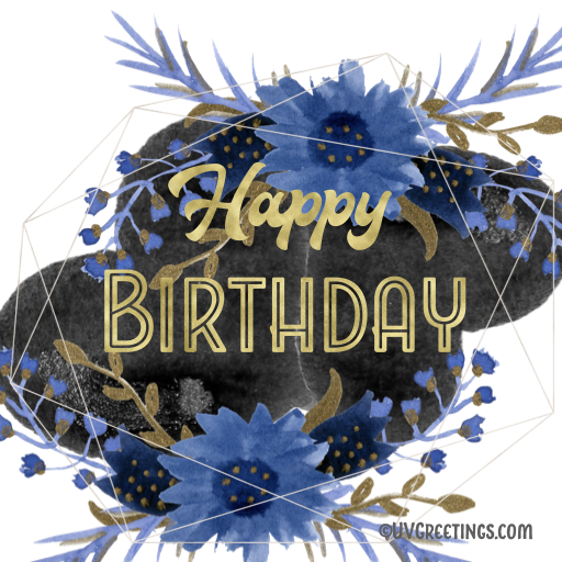 Gold Happy Birthday Sticker with Blue Black Floral Background