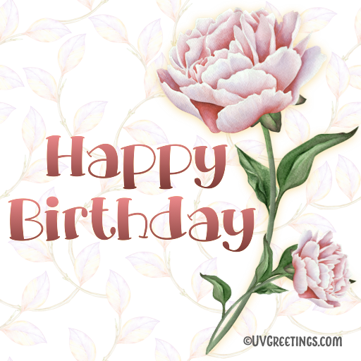 Pink Peony Single flower happy birthday sticker