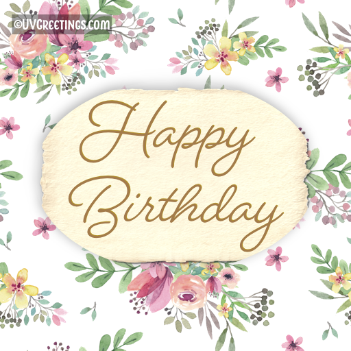 Happy Birthday - Multicolor watercolor floral