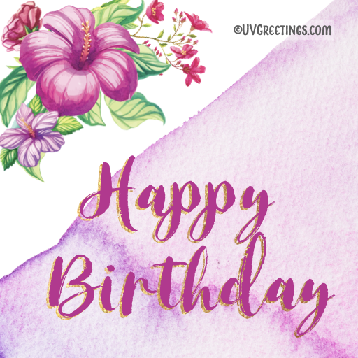 happy Birthday Purple Hibiscus florals