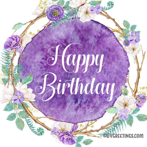 Happy Birthday purple floral wreath design