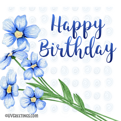 Simple Blue Happy Birthday Floral Sticker