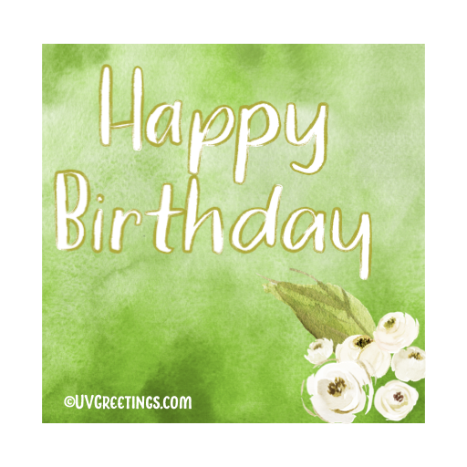 Happy Birthday Scribbled over a Green watercolor background