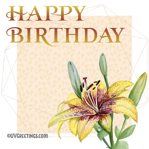 Happy Birthday - A Tiger Lily and Gold Geometric Frame