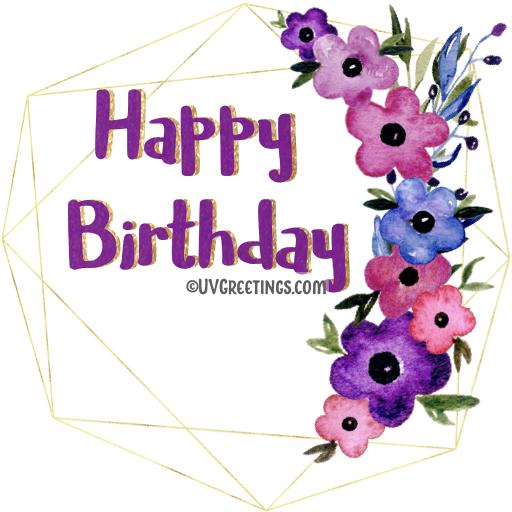 Violet Pink Floral curve Geometric frame birthday Sticker