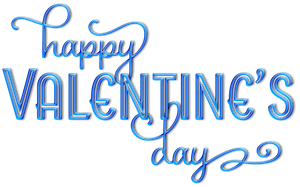 Blue Aqua Happy Valentine's Day Text Clip-art