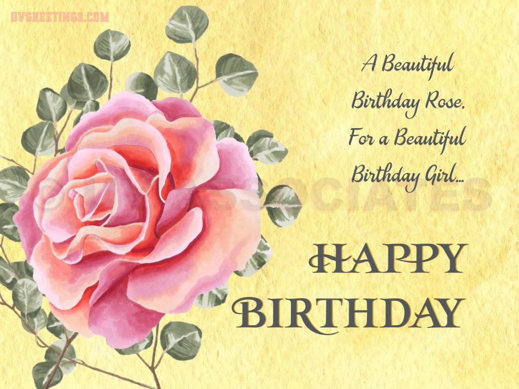 Beautiful Birthday Rose eCard for a Beautiful B'day Girl