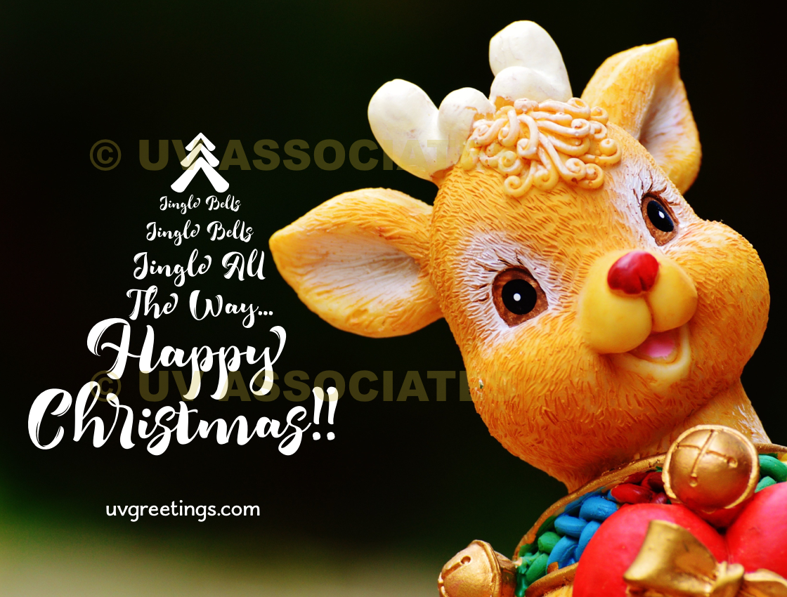 Christmas Tree composed of Jingle Bells Lyrics, and Cute Reindeer
