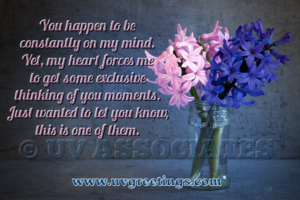 Exclusively Thinking of You eCard - Pink Blue Flowers