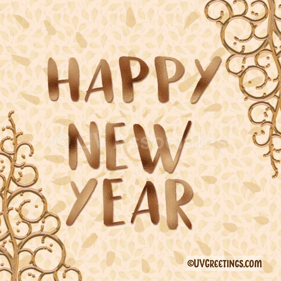 A golden Happy New Year wish -- Gold Letters, And gold ornaments in corners.