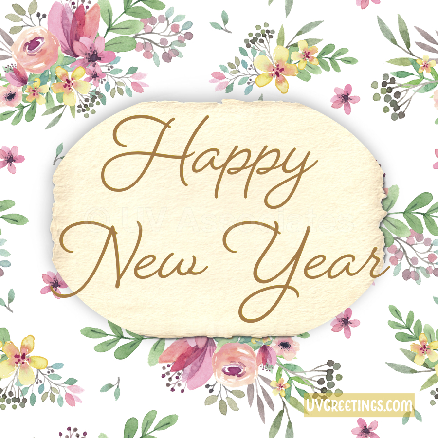 Happy New Year - tiny flowers in pink and yellow, with new year script