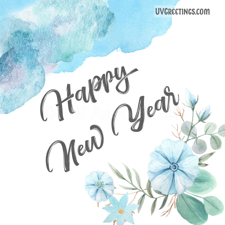 Blue Floral Stylish Design Happy New Year ecard