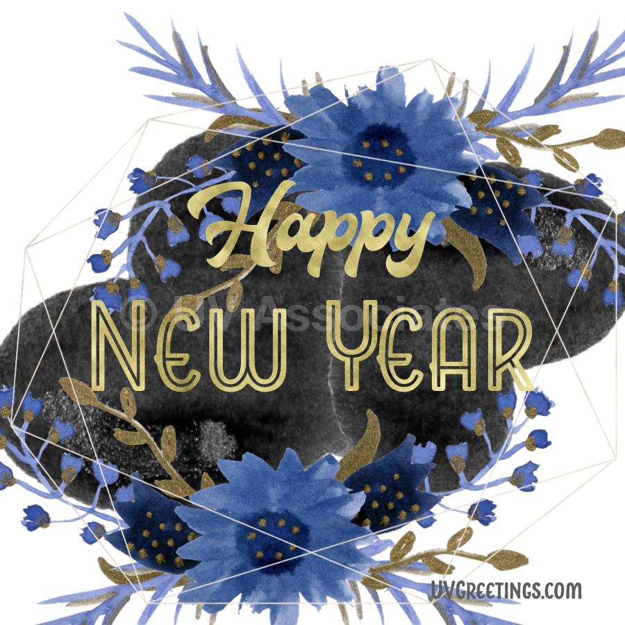 Gold Happy New Year Script, Black background, Midnight Blue Flowers