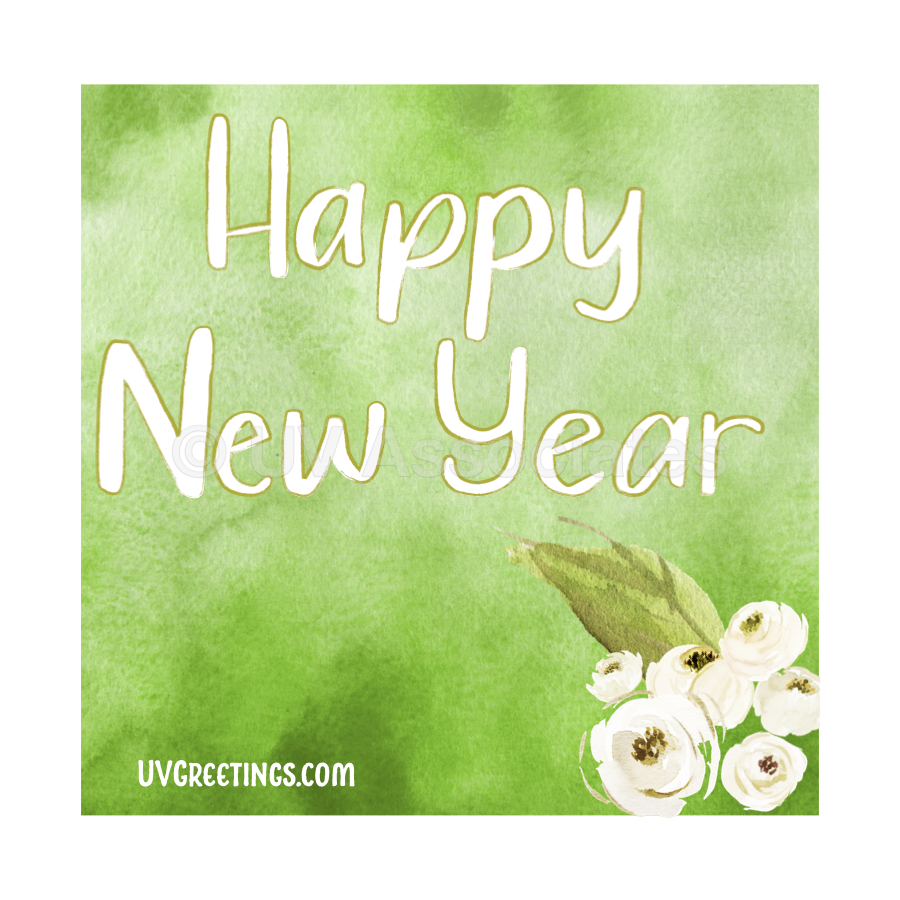 Green Watercolor Background, white script & Floral Bunch - Happy New Year!