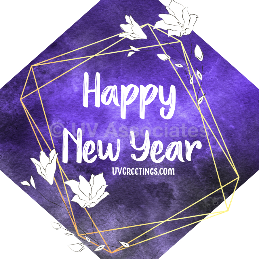 New Year Image with deep Violet background, White script