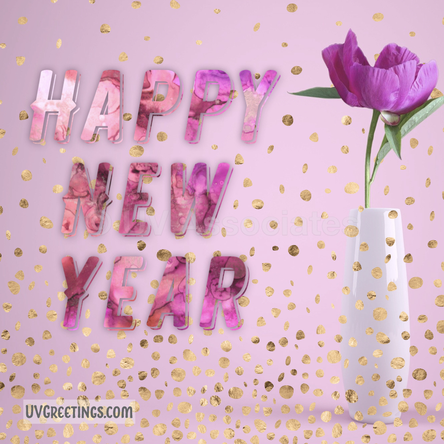 Gold Confetti, Pink Flower, Happy New year!