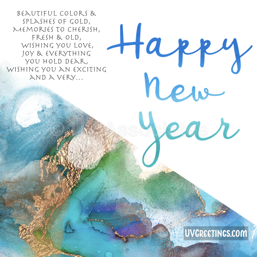 Watercolor Blue Shades for Background and Script, and a little poem for the new year.