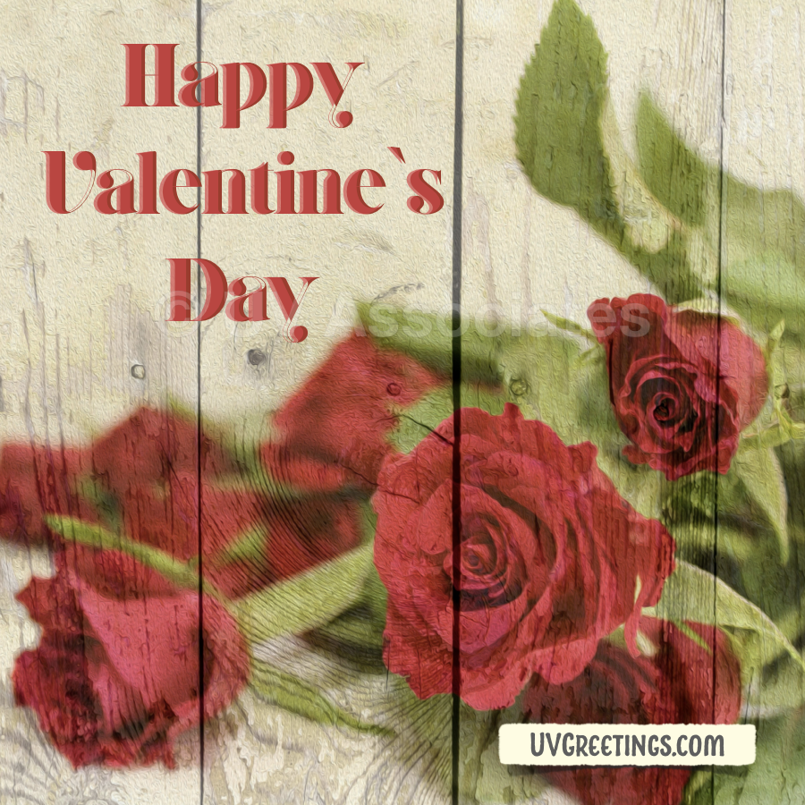 Valentine's Day Red Roses printed on Wood.