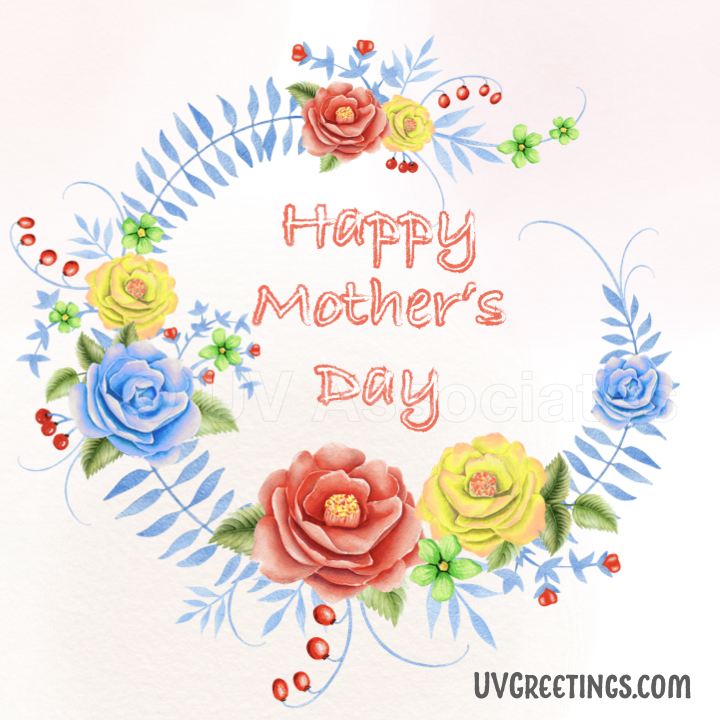 Happy Mother's Day - eCard with Bright Yellow Red Flowers
