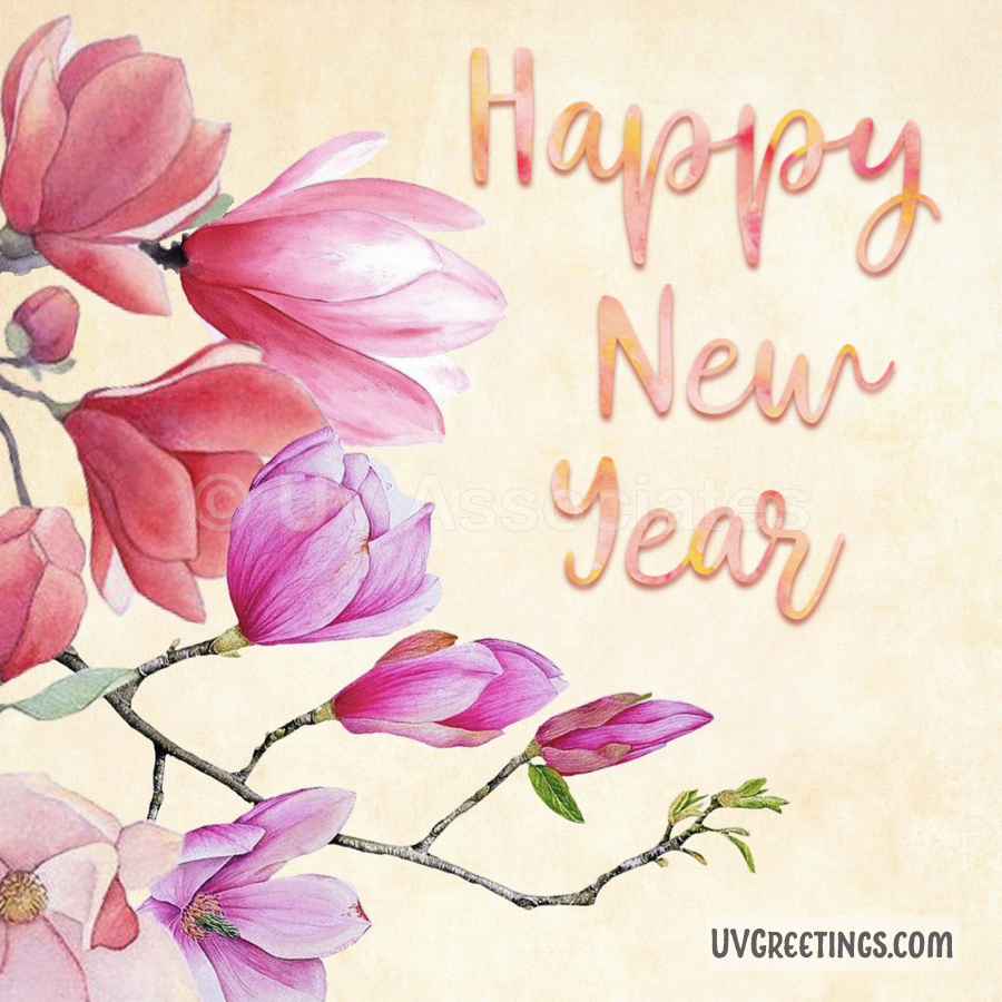 Watercolor Floral arrangement in pink and red, beautiful happy new year script