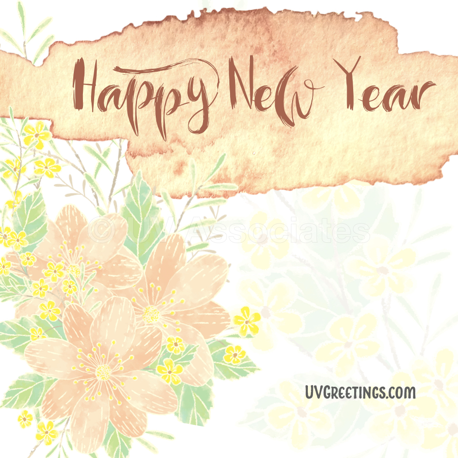Happy New Year - Pale Orange flowers and Brown Calligraphy