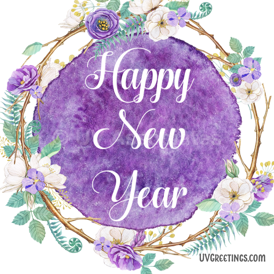 Purple Floral Wreath with White  Happy New Year script