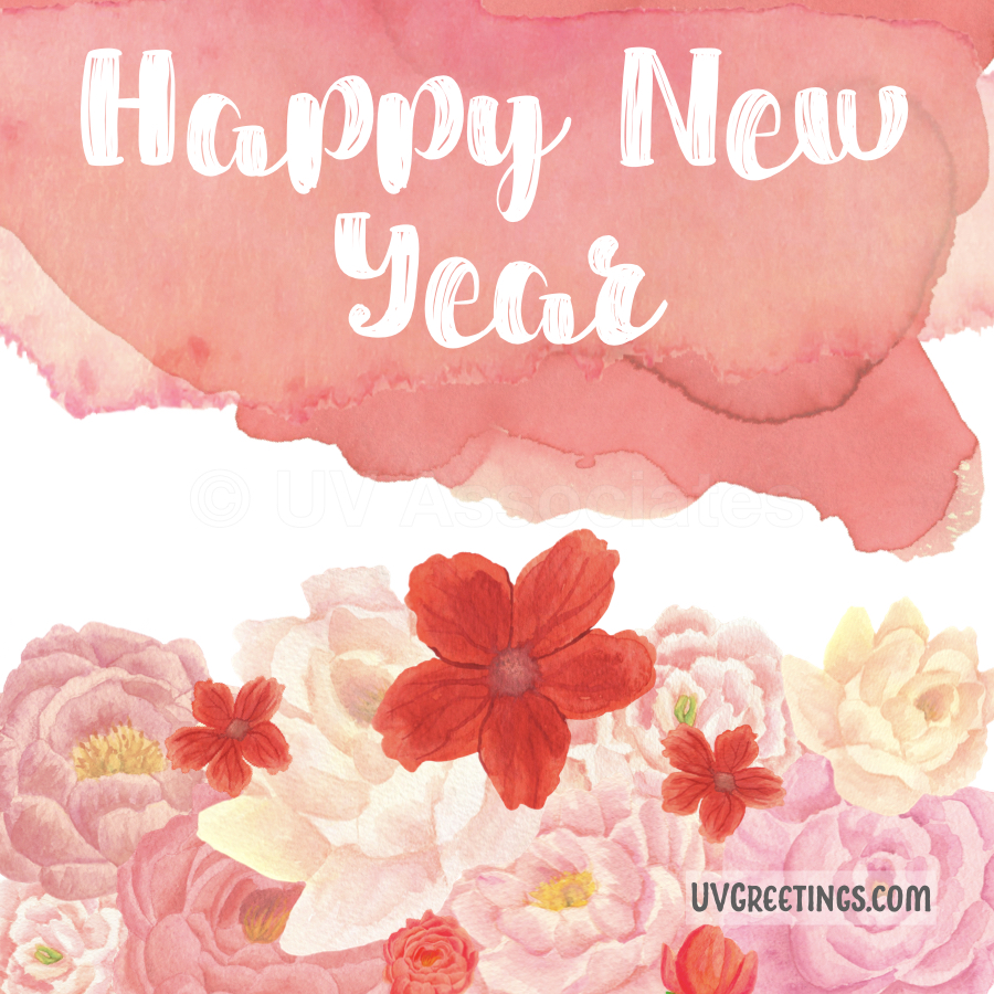 The Watercolor Floral arrangement, Pink, Red, Yellow in this New Year eCard is awesome.
