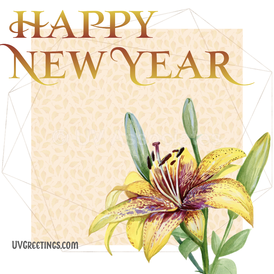 Yellow Bright yellow blossom, Red Yellow Gradient Happy New Year eCard