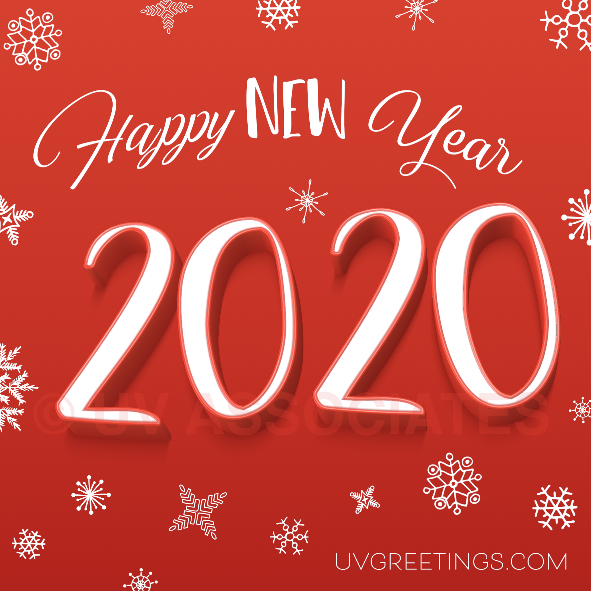 Snowflakes and a red Background and a 3d version of digits 2020!