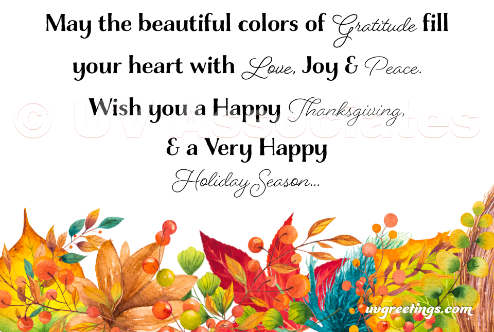 Colors of Gratitude - eCards with bright watercolor autumn foliage
