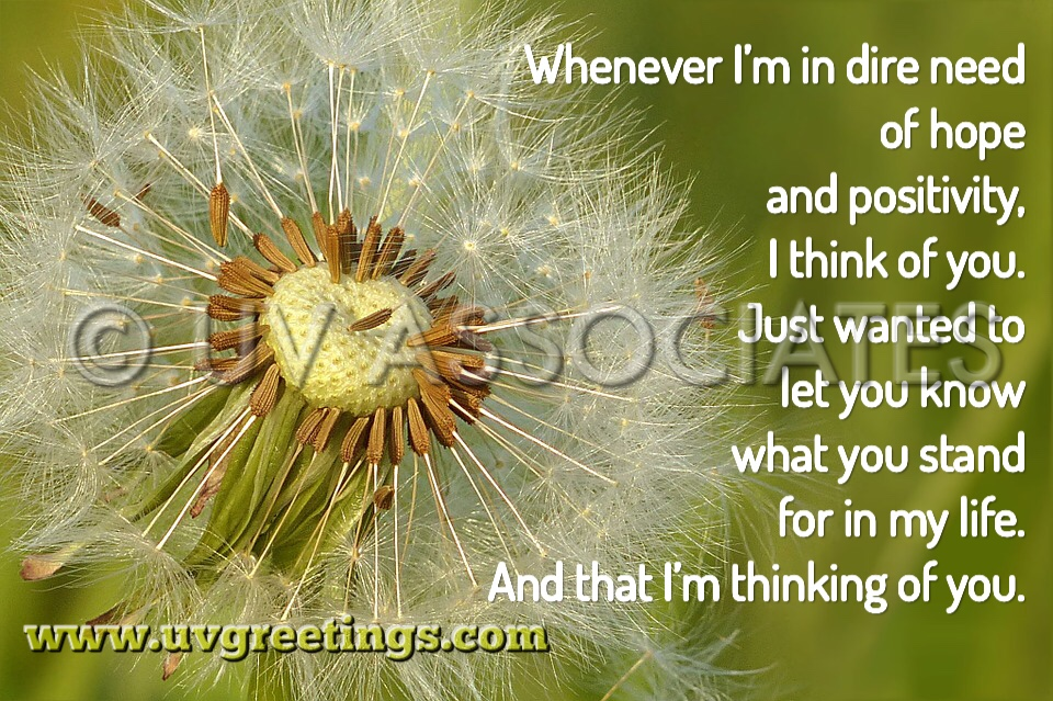 Thinking of You eCard Dandelion Positivity Hope - Dandelion