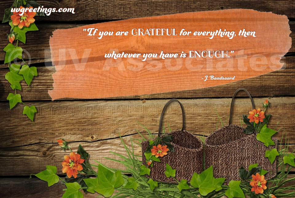 When you are grateful for whatever you have - Thanksgiving Quote