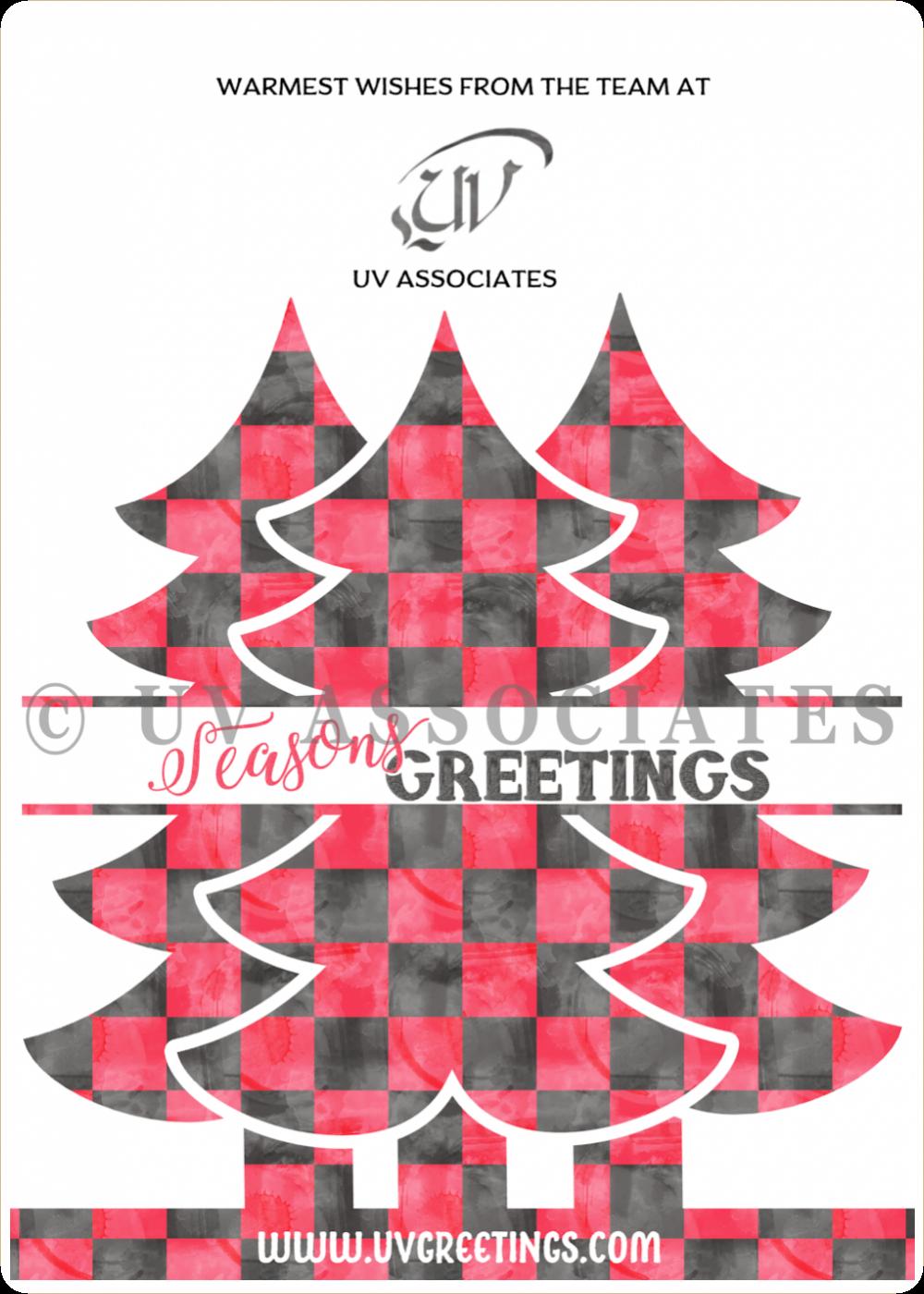 Buffalo Plaid Watercolor Pattern Red Black Christmas Tree Split