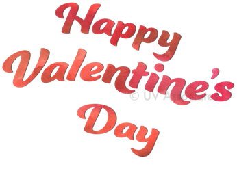 Happy Valentine's Day in bold watercolors and a bold charming, dancing script