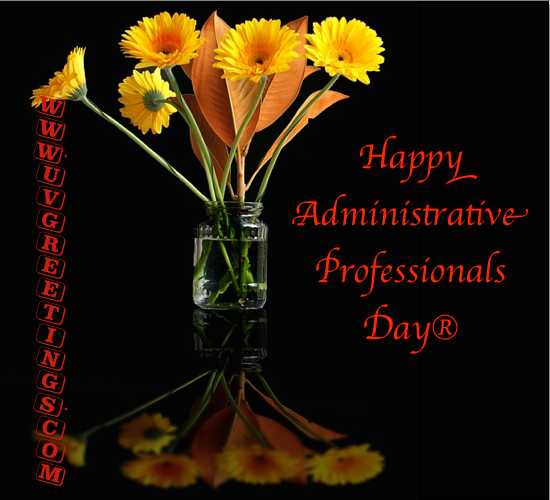 Happy Administrative Professionals' Day® - Vase with Bright flowers, blackground