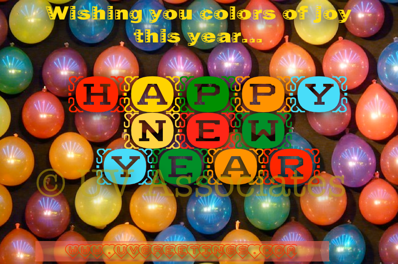 Happy New Year - Colors of Joy with Multicolor Balloons