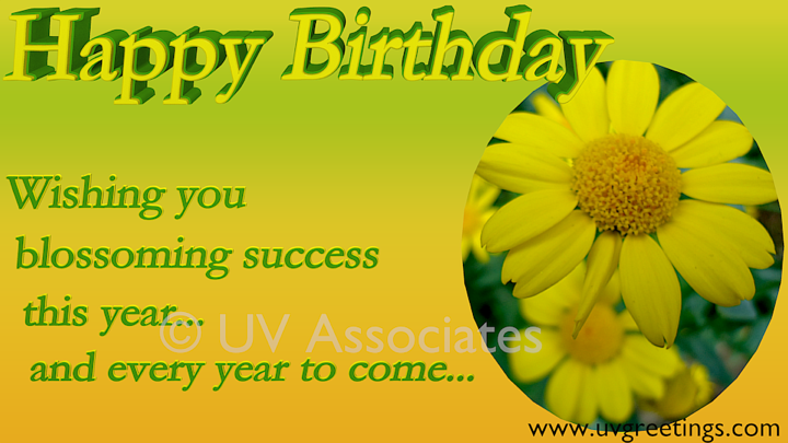Happy Birthday ecard to wish blossoming success