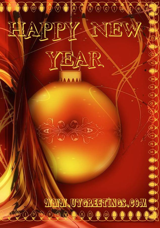 New Year Greeting with Bright Red Yellow Decor