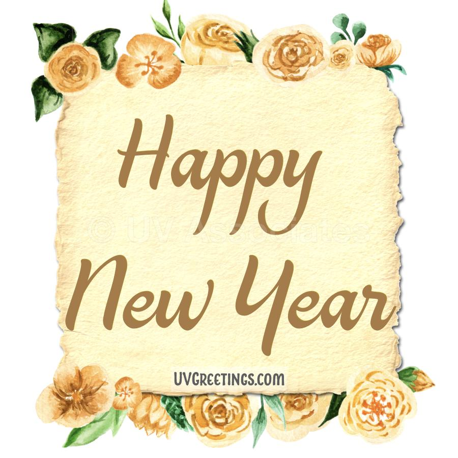 The eCard features Yellow Watercolor flowers and Beautiful Script Happy New Year.
