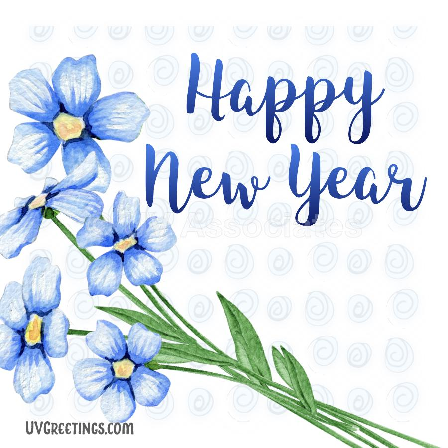 Happy New Year - ecard with a blue flower bunch and a soft floral background.