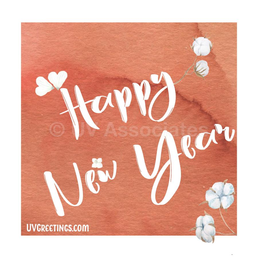 New Year eCard with Orange Background, White Happy New Year Script