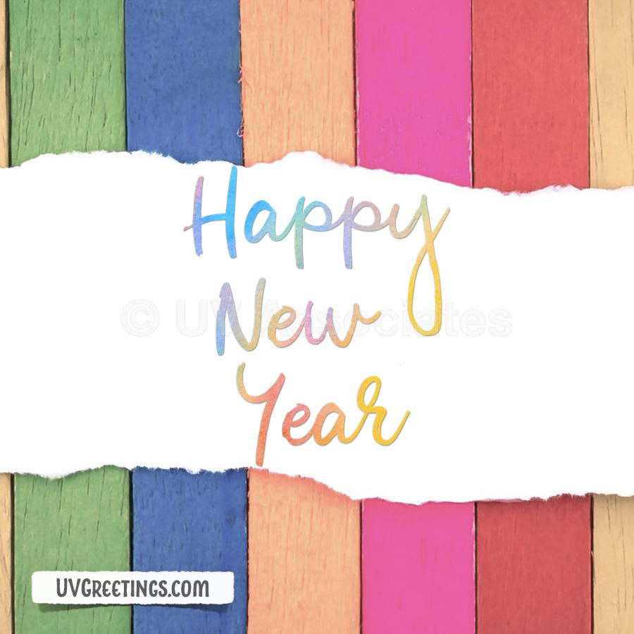 Multicolor Wooden Strips background and Happy New Year Script