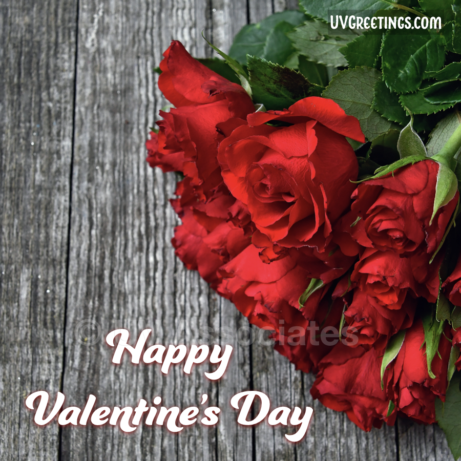 Valentine's Day eCard with Red Roses bunch lying on wooden plank.